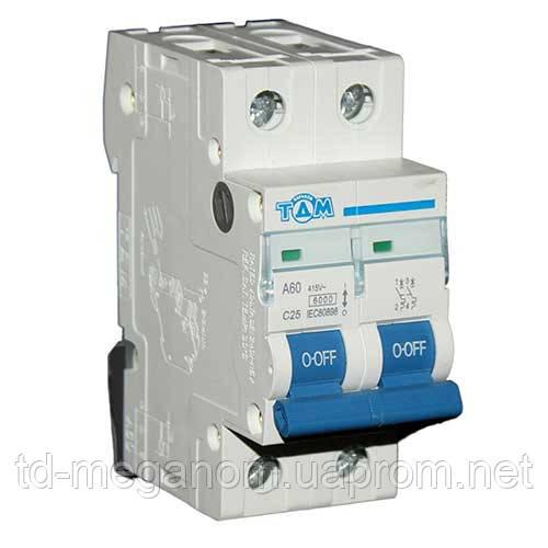 Автоматический выключатель ТДМ А60 2Р  25А  4,5кА, х-ка  С