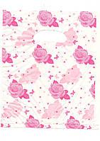 """Пакеты полиэтиленовые типа банан розовый """"Роза"""" 25х35 100шт."""