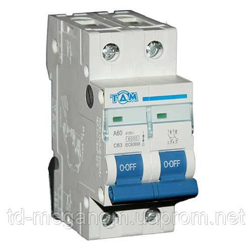 Автоматический выключатель ТДМ А60 2Р  63А  4,5кА, х-ка  С