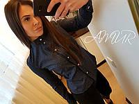 Стильная женская рубашка на пуговицах,ткань коттон,цвет черный,синий