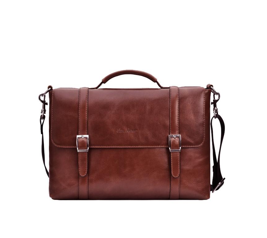 Кожаный мужской портфель Issa Hara BН7 коричневый