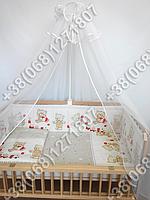 """Детское постельное белье в кроватку """"Бим Бом"""" комплект 7 ед. (мишка игрушки бежевый)"""