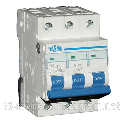 Автоматичний вимикач ТДМ А60 3Р 40А 4,5 кА х-ка С