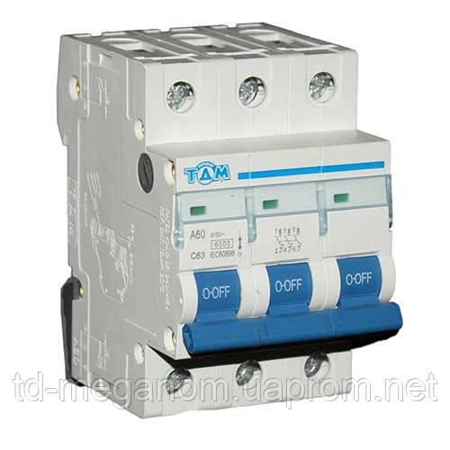 Автоматический выключатель ТДМ А60 3Р  63А  4,5кА, х-ка  С