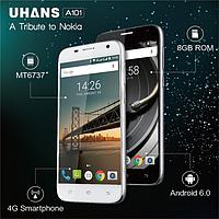 Смартфон UHANS A101, 2sim, экран 5''IPS, 5/2Мп, 1/8Gb, GPS, 4G, 4 ядра, Android 6.0