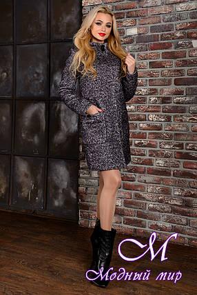 Женское демисезонное темно-серое пальто (р. S, M, L) арт. Кемби крупное букле 9023, фото 2