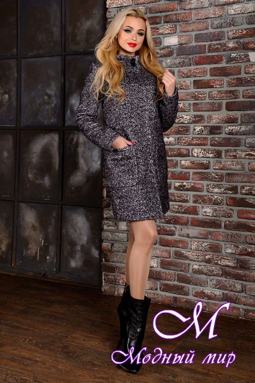 Женское демисезонное темно-серое пальто (р. S, M, L) арт. Кемби крупное букле 9023
