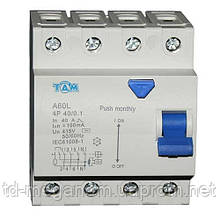 Дифференциальный выключатель УЗО ТДМ А60L  4Р, 40А, 100мА