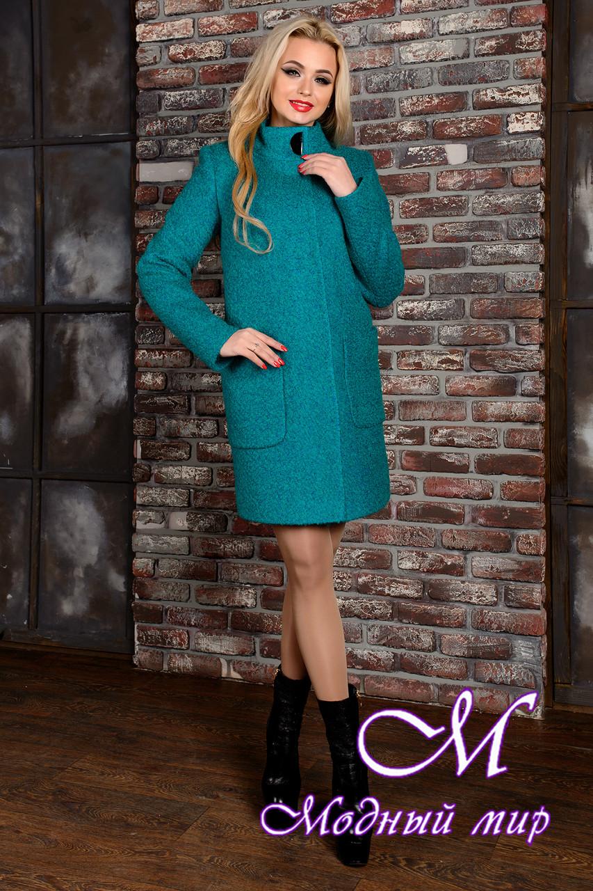 Женское демисезонное пальто цвета бирюза (р. S, M, L) арт. Кемби крупное букле 9024