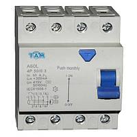 Дифференциальный выключатель УЗО ТДМ А60L  4Р, 50А, 300мА