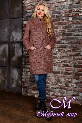 Женское демисезонное пальто цвета какао  (р. S, M, L) арт. Кемби крупное букле 9025, фото 2