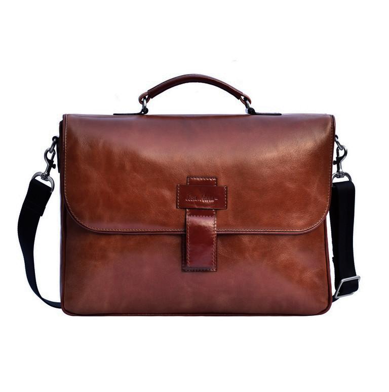 Шкіряний чоловічий портфель Issa Hara B20 шоколад