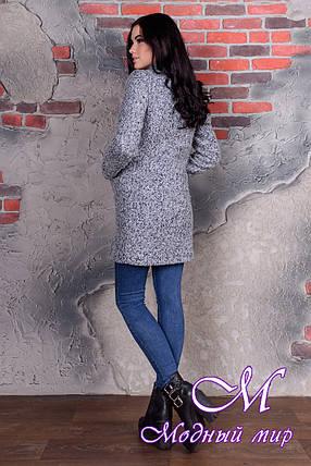 Женское демисезонное серо-голубое пальто  (р. S, M, L) арт. Кемби крупное букле 9192, фото 2