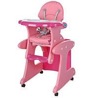 Стульчик трансформер для кормления высокий Bambi Baby на колесиках со столиком