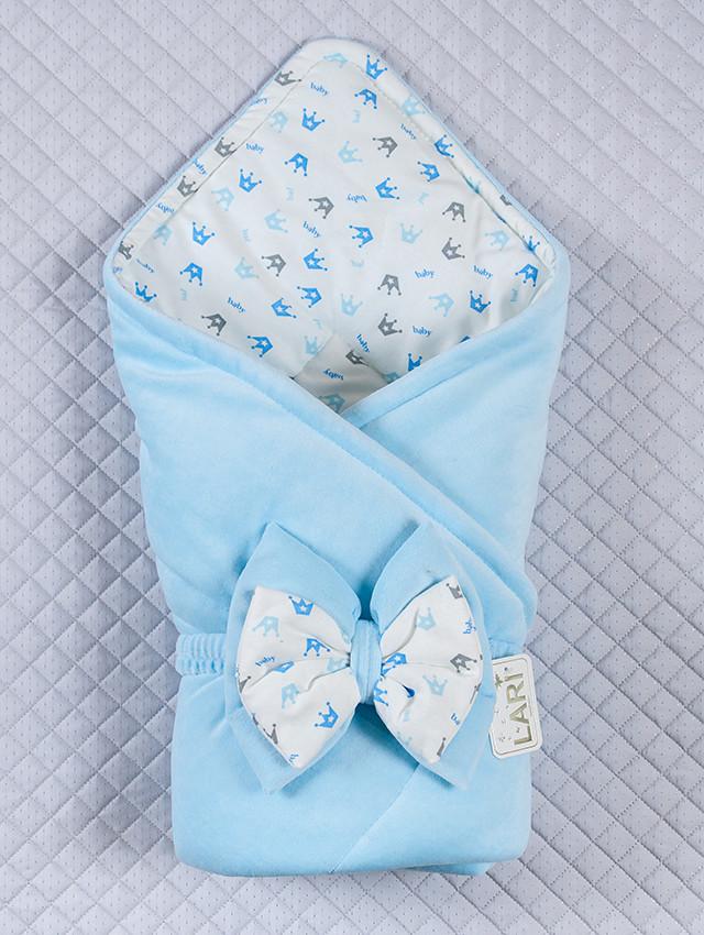 """Демисезонный, конверт-одеяло на выписку, """"Короны"""", голубой"""