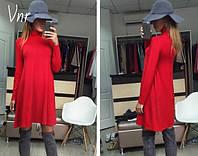 Платье стильное удлиненное сзади с длинными рукавами (2 цвета)