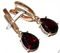 Серьги Xuping, цвет советского золота . Камень: бордовый циркон.Высота серьги 3,3 см. ширина 10 мм.
