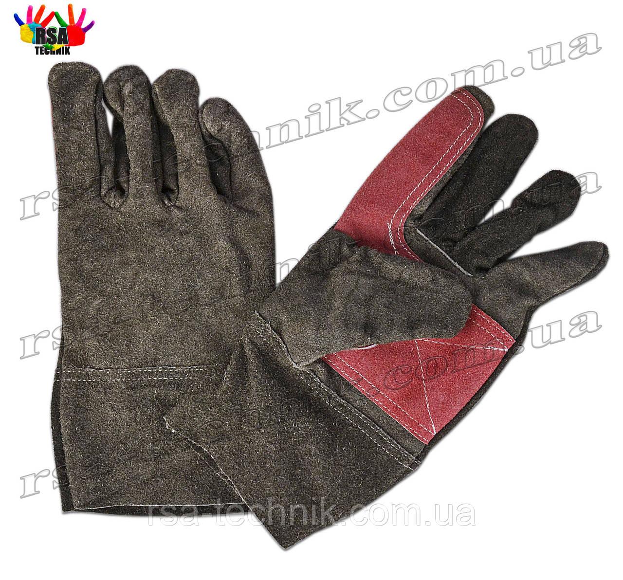 Рукавички спилкові чорно-червоні