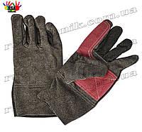 Перчатки спилковые черно-красные