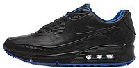 Мужские кроссовки Nike Air Max 90 Leather Black/Blue (Найк Аир Макс) черные/синие