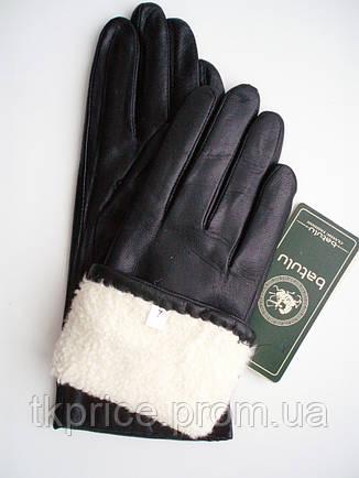 Женские кожаные зимние перчатки на натуральном меху овчинки, фото 2