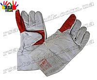 Перчатки спилковые серо-красные