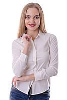 Женская однотонная хлопковая женская блузка из поплина белого цвета