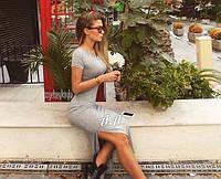 Платье миди с разрезом, короткие рукава