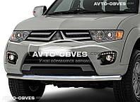 Защита переднего бампера Mitsubishi L200 / Mitsubishi Pajero Sport 2010-2016 одинарный ус (п.к. V001)