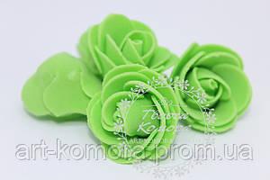 Головка розы латексная зеленая, 2,5 см