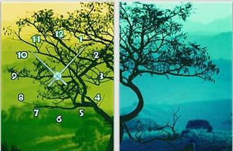 """Модульная картина-часы (60х40 см) """"Дерево в цветах"""""""