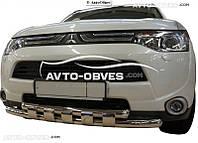 Двойной ус с грилем для защиты переднего бампера Mitsubishi Outlander 2013-2015