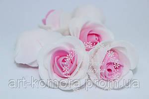 Головка розы латексная белая с розовым, 2,5 см