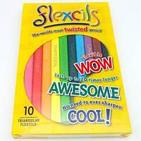 Гибкие карандаши (10  цветов), треугольные, 14см