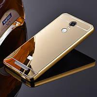 Металлический бампер Epik с акриловой вставкой с зеркальным покрытием для Xiaomi Redmi Note 4 (MTK) Gold