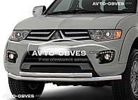 Защита переднего бампера Mitsubishi L200 / Mitsubishi Pajero Sport 2008-2016 двойной ус (п.к. Т.ТК)