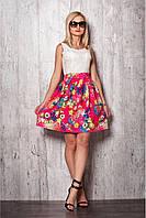 Красивое и удобное  платье№ 941 Цвет: малиновая юбка и кремовый верх
