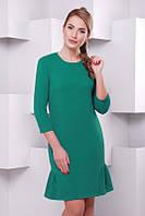 Стильное    женское бирюзовое   платье Рюша   FashionUp 42-48  размеры