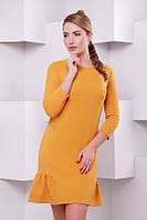 Стильное    женское горчичное    платье Рюша   FashionUp 42-48  размеры