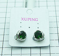 395. Серьги XP под серебро (родий) с зеленым цирконием. Серьги XP оптом