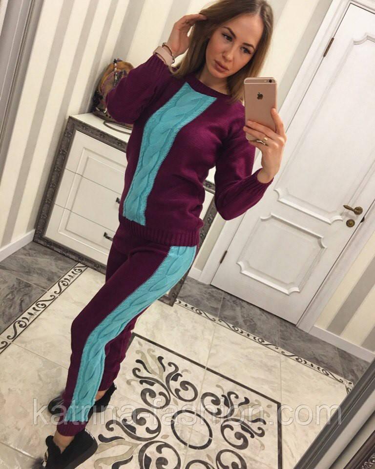 Женский стильный вязаный двухцветный костюм (4 цвета)