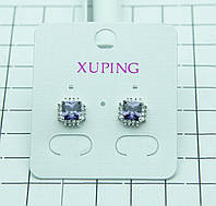 396. Маленькие серьги XP под серебро (родий) с цирконием. Серьги XP оптом