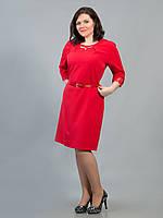 Платье батальное красное с пояском