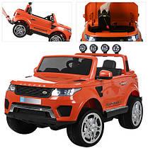 Детский двухместный электромобиль Rage Rover M 3273 EBLR оранжевый, 4 мотора, ключ, двери, багажник, кожа, EVA, фото 2