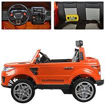 Детский двухместный электромобиль Rage Rover M 3273 EBLR оранжевый, 4 мотора, ключ, двери, багажник, кожа, EVA, фото 3