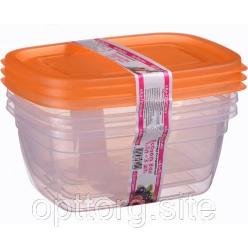 Контейнер пластиковый Econom box 1.5 л -3шт, Ал-Пластик, Арт.: 51