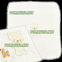 Детский махровый плед одеялко 100х85 см (мягкая, не петельная махра пушистая на ощупь) 3391 Бежевый
