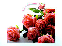 Пакет подарочный 35х26х11см Большой горизонтальный Букет розовых роз
