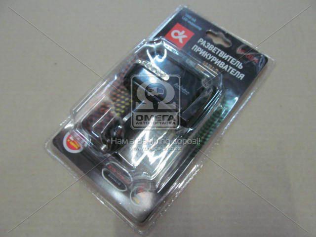 Разветвитель прикуривателя, 2в1 ,USB,1000mA, LED индикатор, Дорожная Карта WF-002A