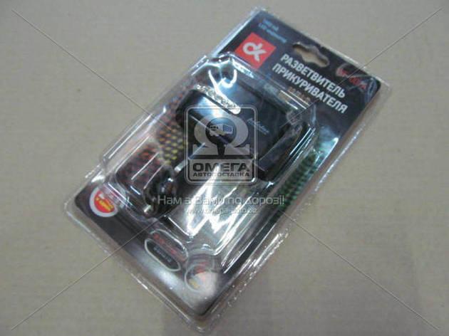 Разветвитель прикуривателя, 2в1 ,USB,1000mA, LED индикатор, Дорожная Карта WF-002A                                            , фото 2